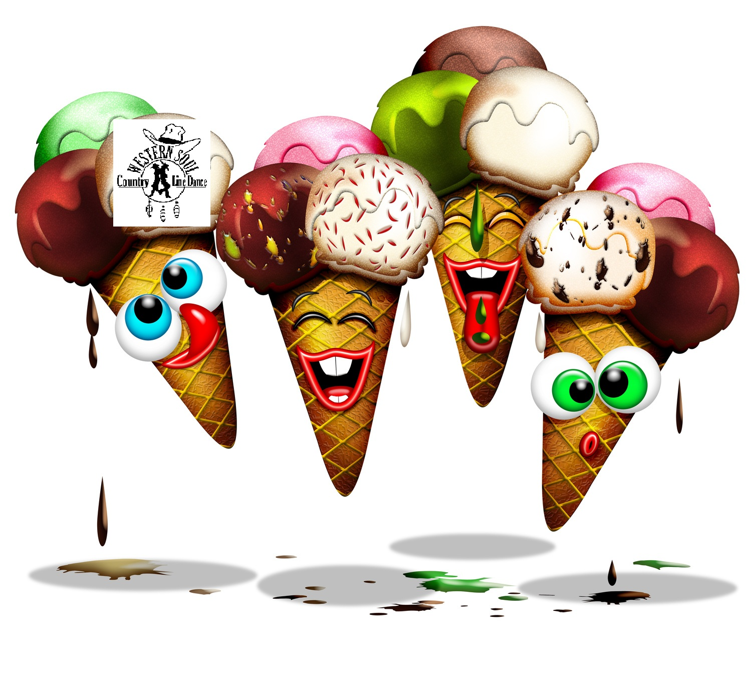 Cono Gelato-Ice Cream-Glace-Cartoon