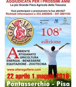 Agrifiera Pontasserchio dal 22 aprile al 1 maggio 2016 @ Pontasserchio   Toscana   Italia